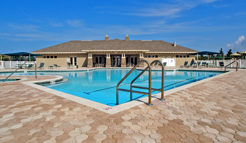 Large Pool Deck Built With Pavers